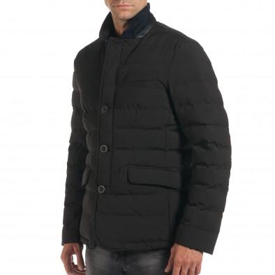 Мъжко черно зимно яке с елегантен дизайн it190616-4 4