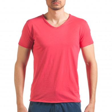 Мъжка розова тениска изчистен модел it260416-48 2