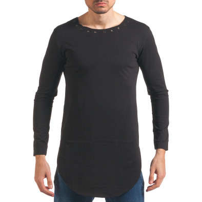 Мъжка черна блуза с дълъг ръкав и метални капси it250416-78 2