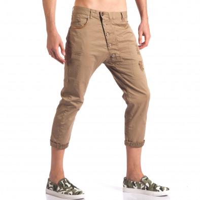 Мъжки кафяв панталон 7/8 тип потури it250416-28 4