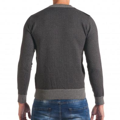 Мъжки тъмно сив пуловер с фигурална плетка it170816-6 3