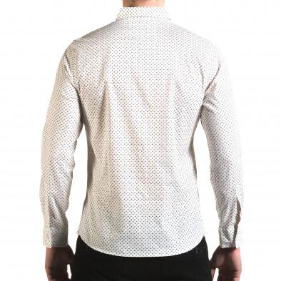 Мъжка бяла риза с малки розички il170216-98 3