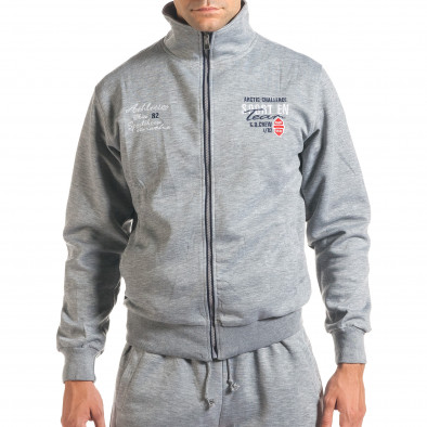 Мъжки светло сив спортен комплект с надписи it160916-72 4