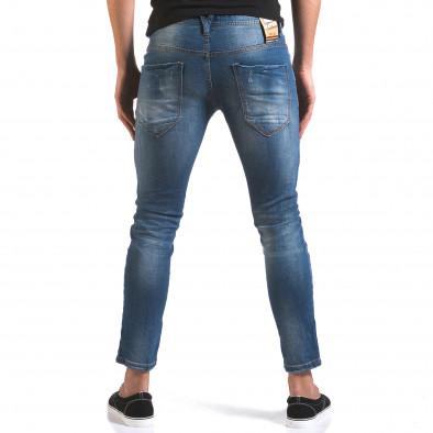 Мъжки сини дънки слим с прокъсвания и шевове it160316-3 3