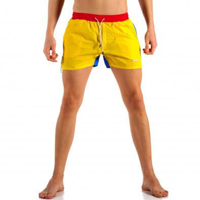Мъжки жълто-син бански с червен ластик it230415-22 2
