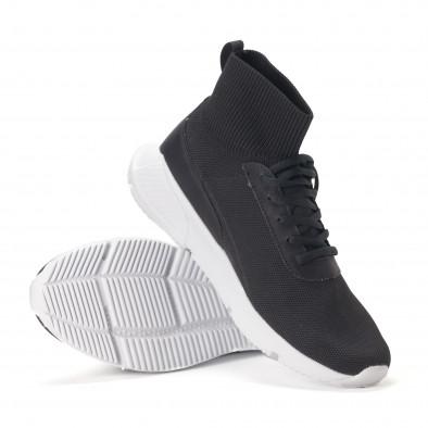 Комбинирани черни мъжки маратонки тип чорап it020618-17 4