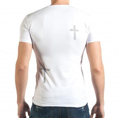 Бяла мъжка тениска с череп от сребристи и черни камъни il140416-10 3
