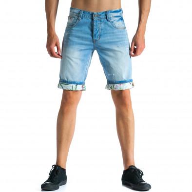 Мъжки светло сини къси дънки с подплата на цветя tsf300514-23 3