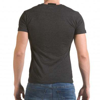 Мъжка сива тениска с цип на деколтето SAW 4