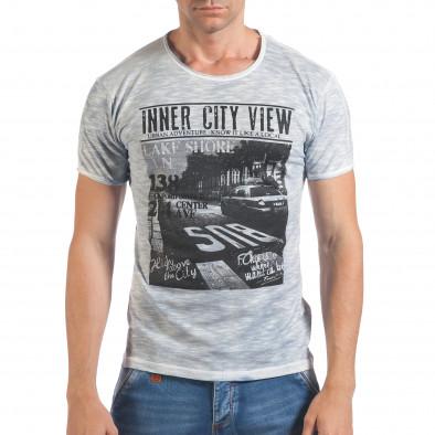 Мъжка синя тениска с принт и надпис Inner City View Lagos 4