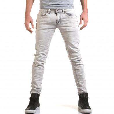 Мъжки светло сив дънков панталон с избелял ефект it090216-22 2