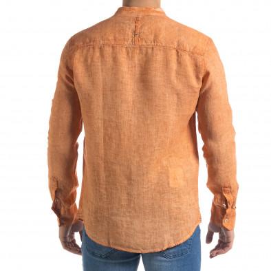 Мъжка оранжева риза от лен с яка столче tr110320-91 4