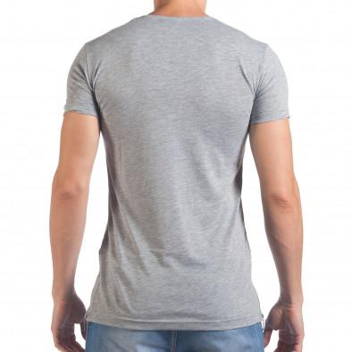 Мъжка сива тениска с черепи отпред il060616-79 3