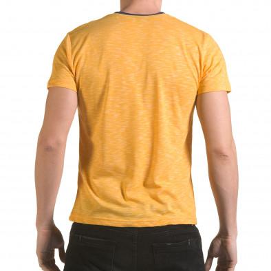 Мъжка жълта тениска с тъмно син джоб il170216-16 3