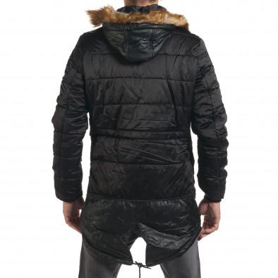 Мъжко дълго зимно яке в черно с връзки на кръста it190616-11 3