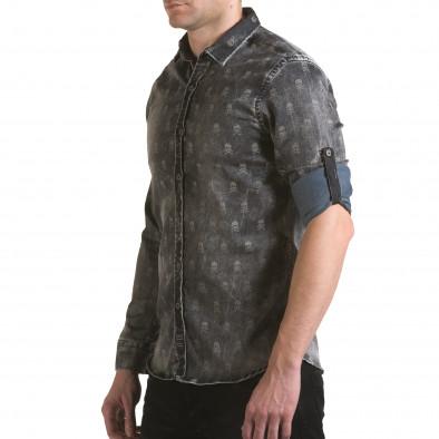 Мъжка риза сив деним с черепи il170216-130 4