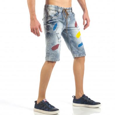 Мъжки сини къси дънки с цветни петна it260318-112 4