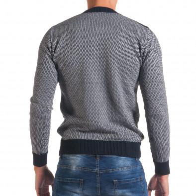 Мъжки синьо-сив пуловер с фигурална плетка it170816-7 3