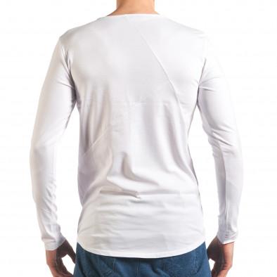 Бяла мъжка блуза с дълъг ръкав it250416-75 3