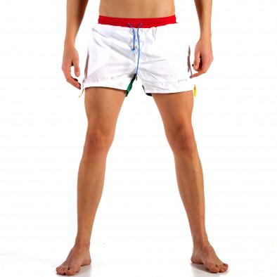 Мъжки бяло-зелен бански с червен ластик it230415-20 2