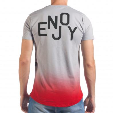 Мъжка сива тениска с червено в края il060616-27 3