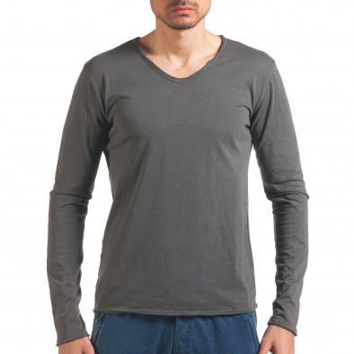 Мъжка сива блуза с дълъг ръкав it260416-50 2