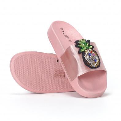 Розови дамски чехли с ананас it230418-36 4
