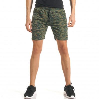 Мъжки шорти кафяво-зелен камуфлаж it140317-98 2