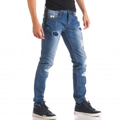 Мъжки дънки с тъмно сини кръпки it150816-29 4