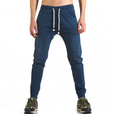 Мъжки сини потури с ефект на дънки и ципове на джобовете it090216-56 2