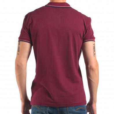 Мъжка червена тениска с яка със син и бял кант it150616-35 3