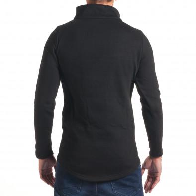 Мъжки черен удължен суичър с асиметрично закопчаване it240816-53 3