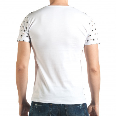 Мъжка бяла тениска с декоративни дупки и принт звезди и рози il140416-58 3