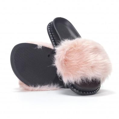 Розови дамски чехли с косъм it230418-50 4