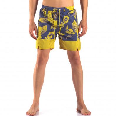 Мъжки сини бански с жълти цветя it150616-20 2