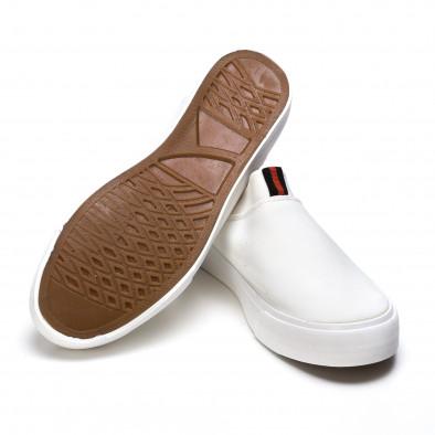 Мъжки бели текстилни кецове без връзки It050216-11 4