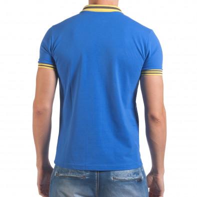 Мъжка синя тениска с яка с жълт номер 7 il060616-98 3