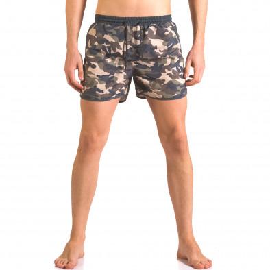 Мъжки бански шорти зелено-син камуфлаж ca050416-1 2