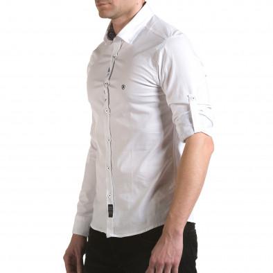 Мъжка бяла риза с лого на гърдите il170216-105 4
