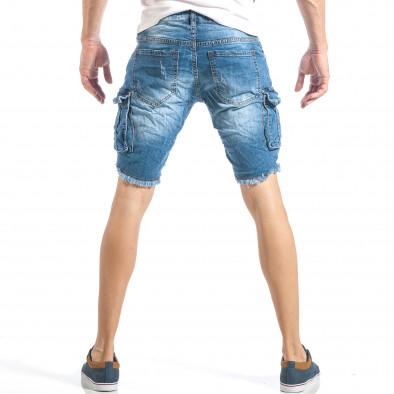 Мъжки рокерски къси дънки в синьо с карго джобове it040518-71 3
