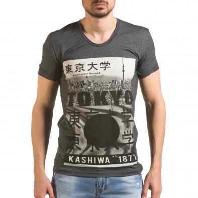 Мъжка тъмно сива тениска с голямо кръгло деколте tsf060416-6 2