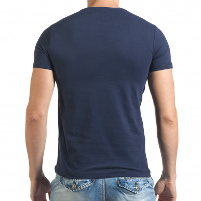 Синя мъжка тениска с голям череп и надпис il140416-24 3