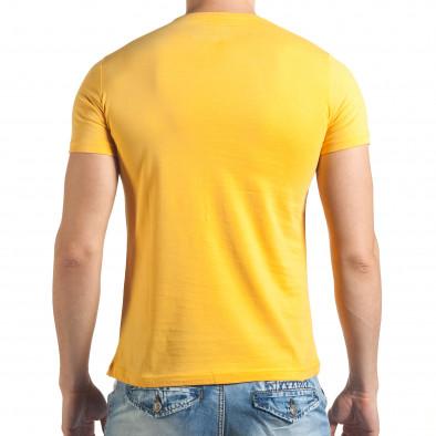 Мъжка жълта тениска с надпис отпред Just Relax 4