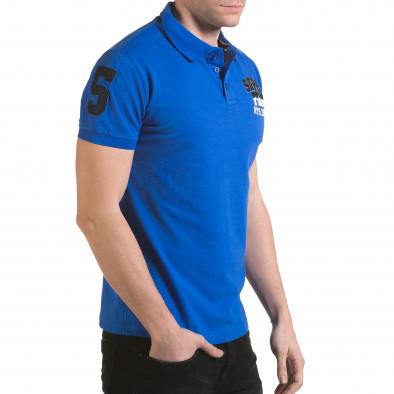 Мъжка синя тениска с яка с релефен надпис Super FRK il170216-21 4
