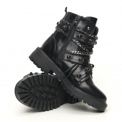 Рокерски дамски боти с черни капси it051219-21 5