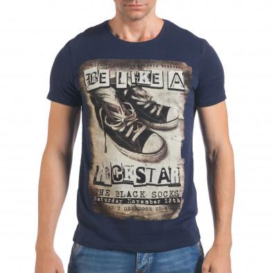 Мъжка синя тениска с принт кецове il060616-9 2