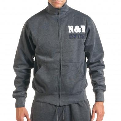 Мъжки тъмно сив спортен комплект с релефен надпис N&Y it160916-81 4