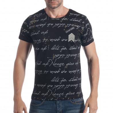 27e3a694f86 Мъжка черна тениска с бели надписи tsf090617-1 | Fashionmix.bg