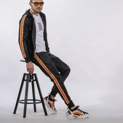 Мъжки черен анцуг с кантове оранжев неон it010221-48 3