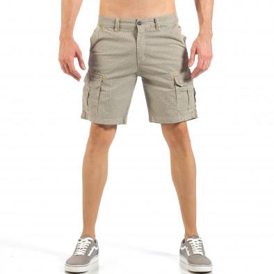Мъжки къси карго панталони в цвят каки с дребен принт it260318-132 2